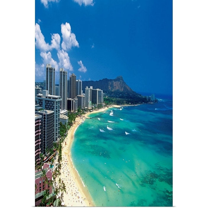 Aerial View Of Waikiki Beach Honolulu Oahu Hawaii Usa Poster Print