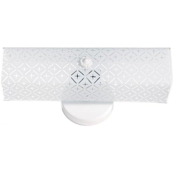 "Nuvo Lighting 76/276 Two Light 14"" Bathroom Fixture with Diamond ""U"" Channel Glass - White"