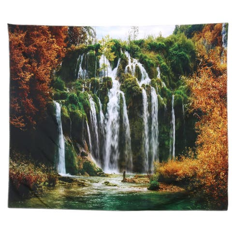 Home Outdoor Polyester Landscape Print Beach Picnic Blanket Tapestry Multicolor