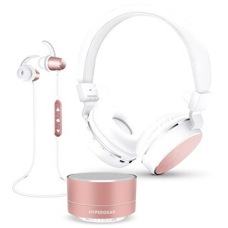 Hypergear 3-Piece Audio Gift Set- Bluetooth Headphones, Earbuds & Speaker Rose Gold (14291)