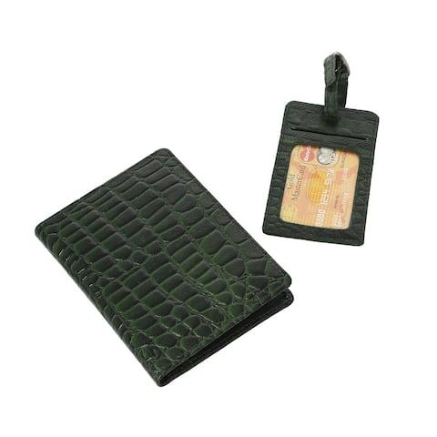 RFID Blocking Leather Croco Passport Holder Document Organizer Luggage - 4.5x6 Inches, 2.75x4.75 Inches