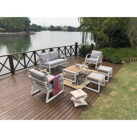 Moda 5-piece Outdoor Steel Sofa Set with Ice Bucket Table
