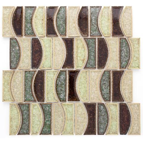 TileGen. Roman Art Mario Ceramic Geometric Random Sized Crackle Glass Mosaic Tile in Beige/Brown Wall Tile (10 sheets/9.6sqft.)