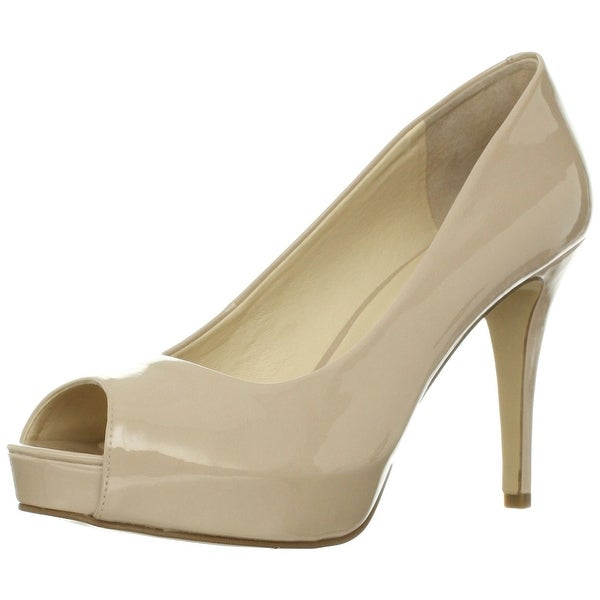 Nine West Womens CAMYA Peep Toe Platform Pumps Natural synthetic Size 11.0