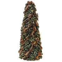 "16"" Pine Cones and Leaves Glittered Cone Tree Christmas Tabletop Decoration - brown"