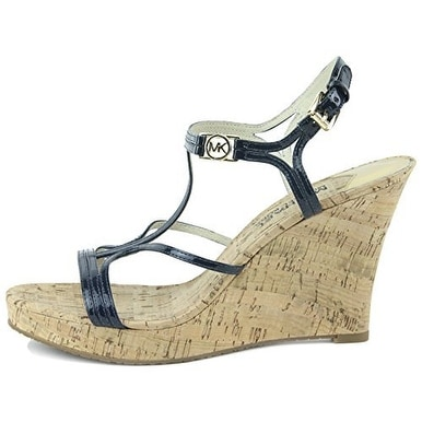 4dcafa3306 MICHAEL Michael Kors Womens Cicely Wedge (Cork) Leather Open Toe Casual  Platf.