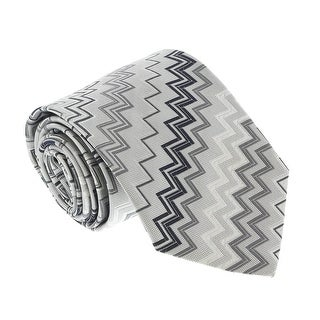 Missoni U3417 Silver/Grey Chevron 100% Silk Tie - 60-3