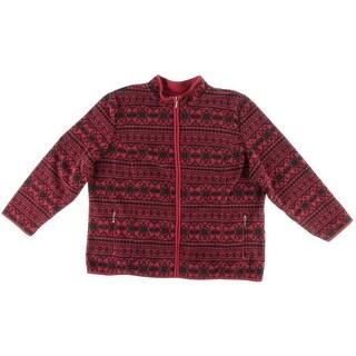 Karen Scott Womens Plus Fleece Printed Fleece Jacket - 0X