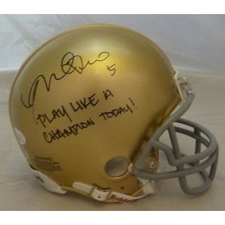 Manti Teo Autographed Notre Dame Fighting Irish Riddell Mini Helmet Play Like A Champion Today