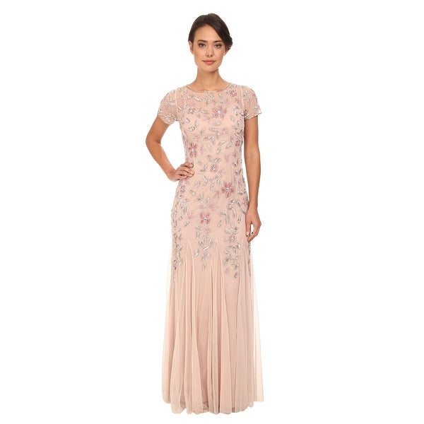 3b9e80b1d1e Shop Adrianna Papell Women s Floral Beaded Godet Gown - Free ...