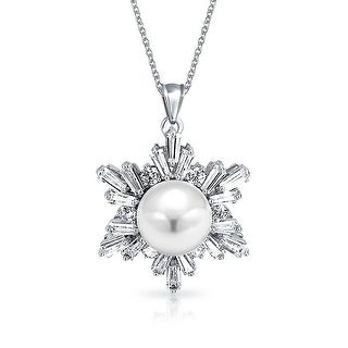 Bling Jewelry Imitation Pearl CZ Snowflake Pendant Rhodium Plated Necklace 16 Inches