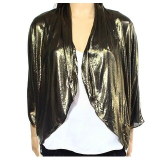 MSK NEW Gold Womens Size Medium M Shrug Open-Front Metallic Jacket