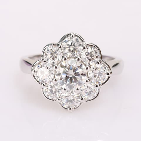 Miadora 2 3/8ct DEW Moissanite Halo Floral Engagement Ring in 10k White Gold