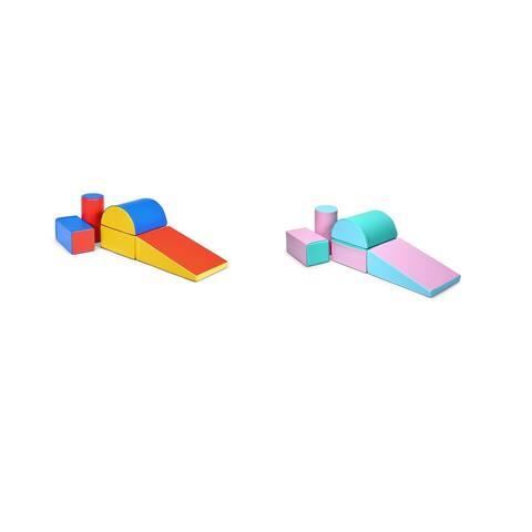Gymax 5-Piece Set Climb and Crawl Activity Play Set Safe Foam Blocks Soft Climber