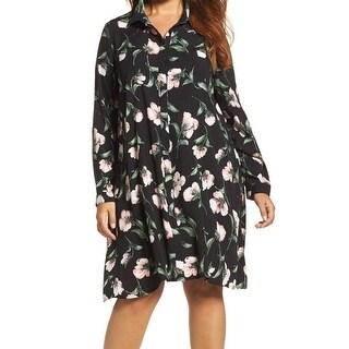 Glamorous Curve Black Women's Size 20 Plus Floral Shirt Dress