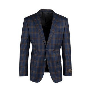 Dolcetto Cobalt Blue with Brown and Amber Windowpane Modern Fit, Pure Wool Jacket by Canaletto Menswear C64.523/1