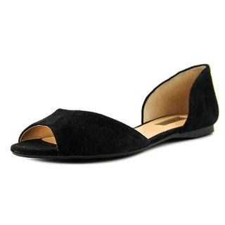 INC International Concepts Elsah Women W Peep-Toe Suede Black Flats