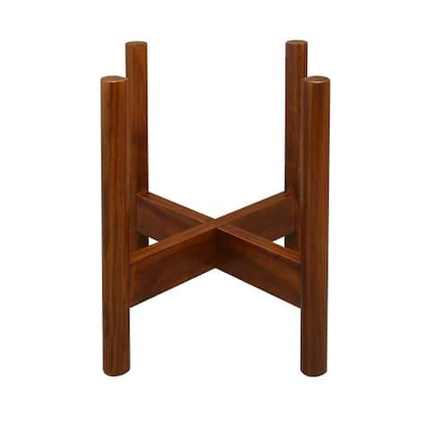 Mid-Century Modern Wood Plant Display Stand (Stand Only)