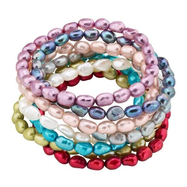 Set of 8 Multi-Color Baroque Freshwater Pearl June Birthstone Stretch Bracelets - Pink