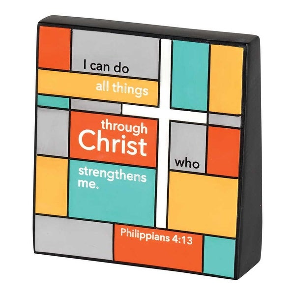 "4.5"" Orange and Purple Religious Verse Quoted Wedge Tabletop Plaque - N/A"