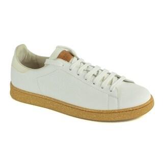 Brunello Cucinelli White Grained Leather Peppered Gum Bottom Sneaker