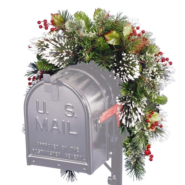 3' Artificial Pine with Berries, Cones and Snow Christmas Mailbox Swag - Unlit - green