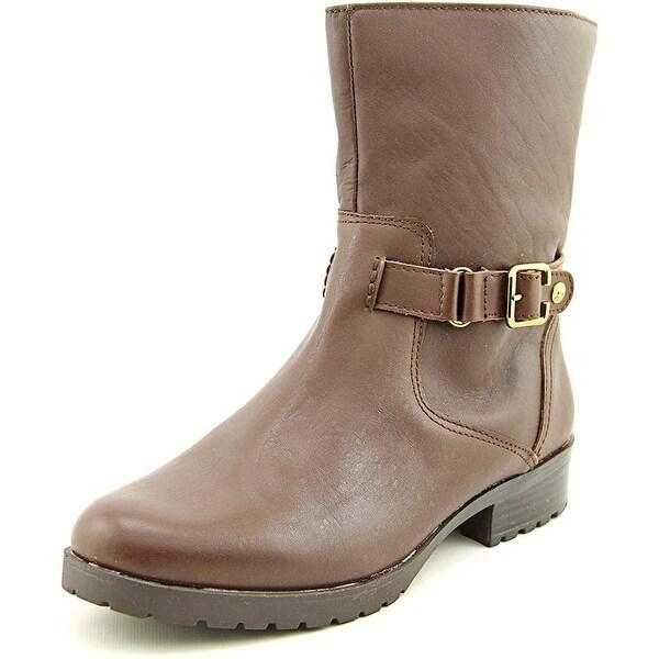 Anne Klein Womens Crayton Leather Almond Toe Ankle Fashion Boots