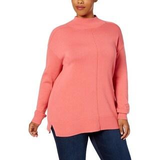 Karen Scott Womens Plus Tunic Sweater Mock Neck Tunic
