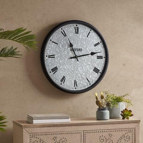 Martha Stewart Otis Silver/ Black Galvanized Round Clock