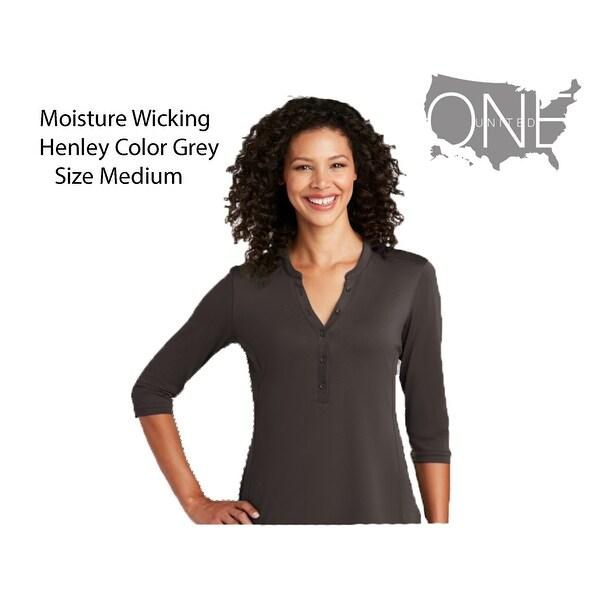 Womens Moisture (Size Medium) Wicking Henley, Sterling Grey