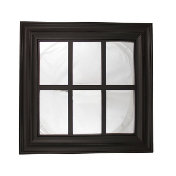 "17.25"" Jet Black Window Inspired Decorative Wall Mounted Mirror"