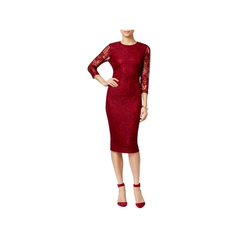 Jessica Simpson Womens Cocktail Dress Lace Overlay Party