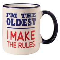 Sibling Coffee Cup - I'm The Oldest I Make the Rules Mug - 12 oz Ceramic
