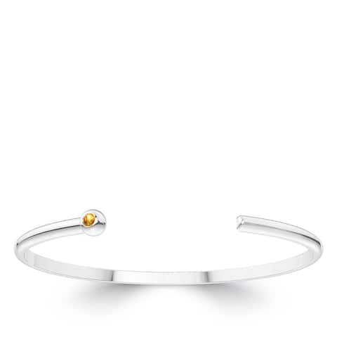 Light Citrine Cuff Bracelet in Sterling Silver
