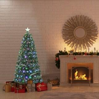 Gymax Fiber Optic 5' PVC Artificial Christmas Tree LED Lights Metal