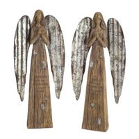 """Pack of 4 Distressed Remembrance Angel Figures 13.75"""" - Brown"""