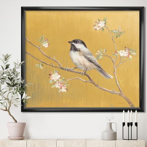 Designart 'Gold Bird on Blossoms IV' Farmhouse Premium Framed Art Print