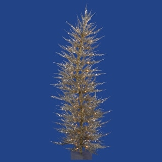 4' Pre-Lit Whimsical Champagne Artificial Tinsel Christmas Tree - Clear Lights