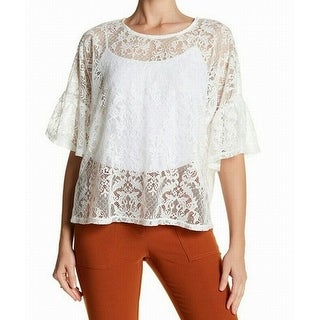 Bobeau NEW White WomenSize Small S Sheer Floral-Lace Bell-Sleeve Blouse