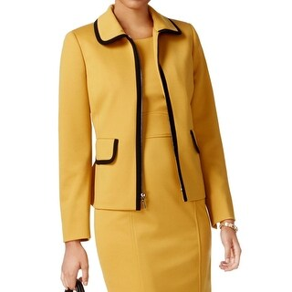 Kasper Yellow Women's Size 12 Full-Zipped Contrast Trim Jacket