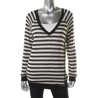 Sanctuary Womens Striped Asymmetric V-Neck Sweater - S