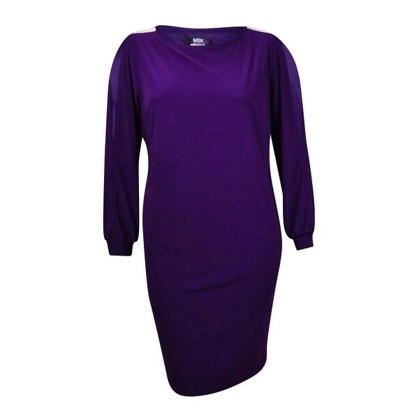 MSK Women's Solid Embellished Cold Shoulder Jersey Dress