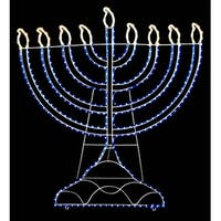 "20"" White & Blue LED Lighted Rope Light Hanukkah Menorah Outdoor Decoration - CLEAR"