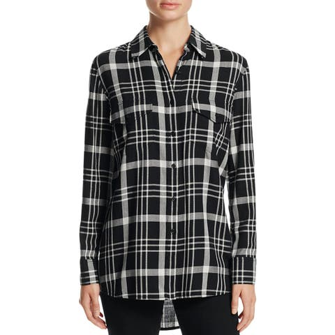 Cupcakes and Cashmere Womens Button-Down Top Plaid Woven