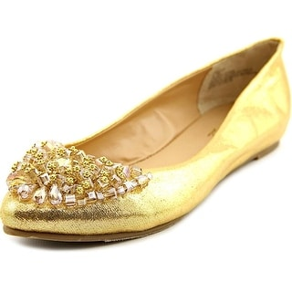 Thalia Sodi Sarita Women Round Toe Canvas Gold Flats