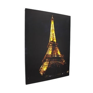 Flickering LED Eiffel Tower at Night Canvas Wall Hanging