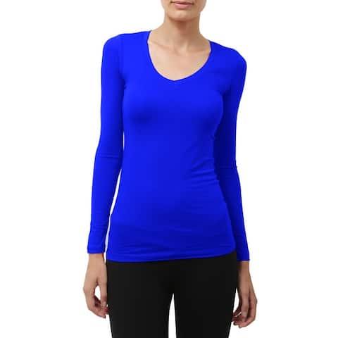 NE PEOPLE Womens Comfy Light Weight Basic Long Sleeve V Neck Shirt
