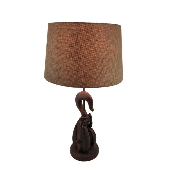 Pleasant Shop Vintage Style Wood Pulley And Hook Table Lamp 24 X 13 Home Remodeling Inspirations Gresiscottssportslandcom