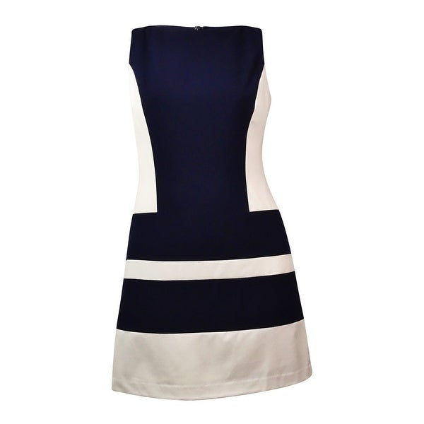 Lauren Ralph Lauren Women's Striped Colorblocked Sheath Dress - Navy