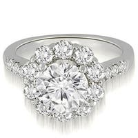 1.75 cttw. 14K White Gold Halo Round Cut Diamond Engagement Ring